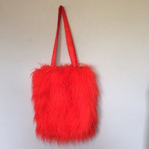 On Your Feet by Chinese Laundry Red Faux Fur Tote